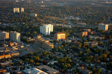 downtown kitchener aerial shot