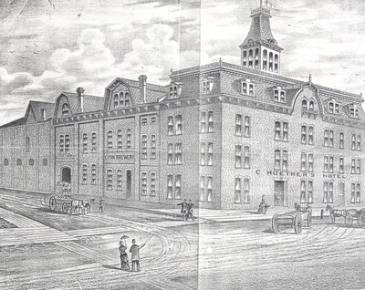 Drawing of the Huether Hotel in the 19th century
