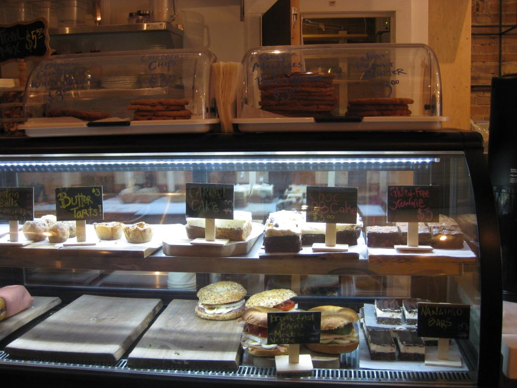 Baked goods behind glass